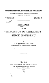 History of the Theory of Sovereignty Since Rousseau