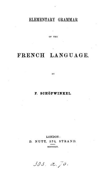 Elementary Grammar of the French Language PDF