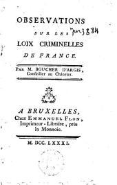 Observations sur les loix criminelles de France