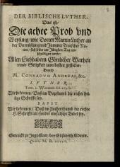 Der Biblische Lvther, Das ist, Die achte Prob vnd Weysung, wie Doctor Martin Luther an der Verwüstung vnd Jammer Teutscher Nation, sich selber am Jüngsten Tag entschuldigen werde