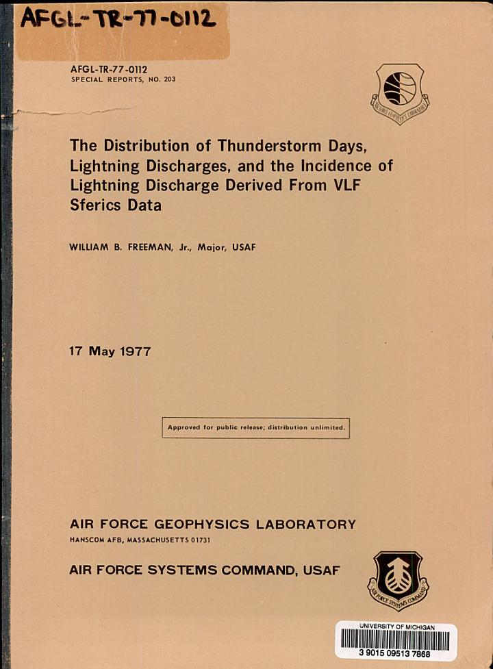 The Distribution of Thunderstorm Days, Lightning Discharges, and the Incidence of Lightning Discharge Derived from VLF Sferics Data