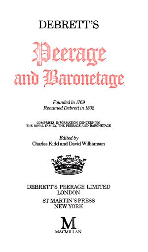 Debrett's Peerage and Baronetage 1990