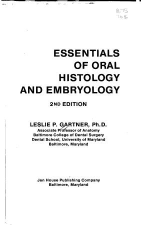 Essentials of Oral Histology and Embryology PDF