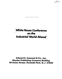 White House Conference on the Industrial World Ahead PDF