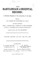 Babylonian and Oriental Record PDF
