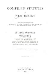 Compiled statutes of New Jersey: Volume 5