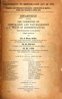 Amendments to Immigration Act of 1924 PDF