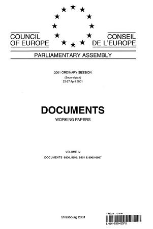 Parliamentary Assembly Documents 2001 Ordinary Session  Second Part   Volume IV PDF