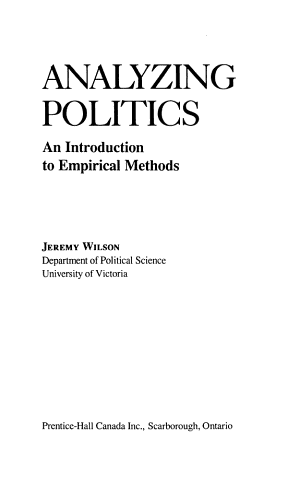 Analyzing Politics PDF