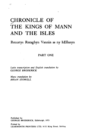 Chronicle of the Kings of Mann and the Isles PDF