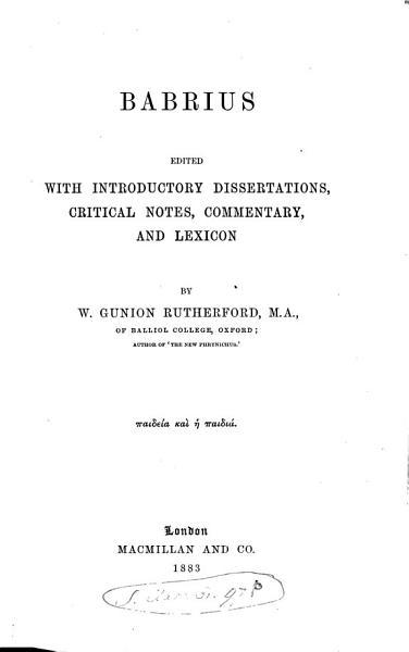 Download Babrius Book