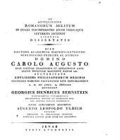 De antiquissima Romanorum militum in duces triumphantes jocos versusque satyricos jaciendi licentia dissertatio