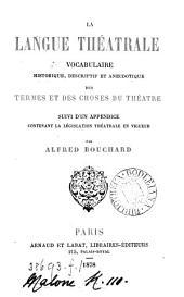 La langue théatrale, vocabulaire