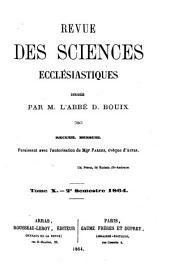Revue des sciences ecclésiastiques: Volume10