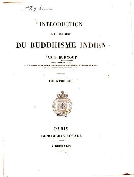 Download Introduction    L Histoire Du Buddisme Indien Book