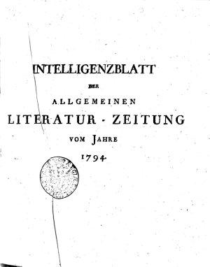 Intelligenzblatt der Allgemeinen Literatur Zeitung vom Jahre 1794 PDF