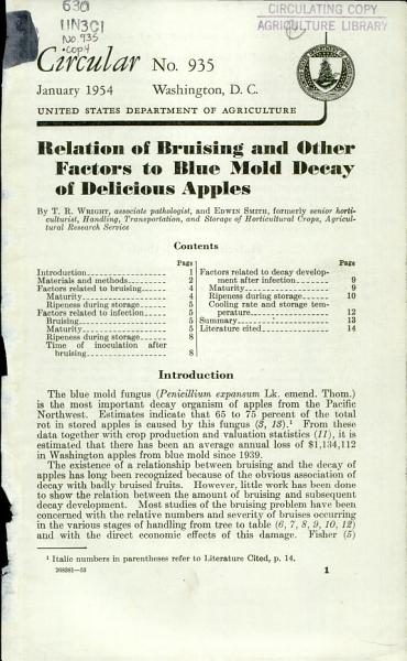 Download Relation of Bruising and Other Factors to Blue Mold Decay of Delicious Apples Book