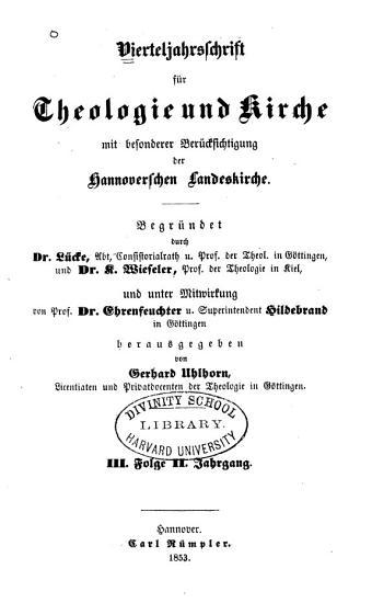 Vierteljahrsschrift f  r Theologie und Kirche PDF