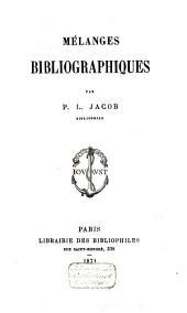 Mélanges bibliographiques