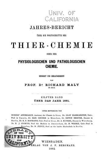 Jahres Bericht   ber die Fortschritte der Thier Chemie oder der physiologischen und pathologischen Chemie PDF