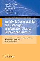 Worldwide Commonalities and Challenges in Information Literacy Research and Practice PDF