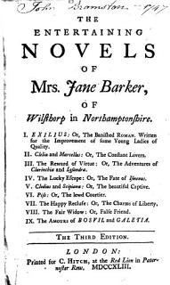The Entertaining Novels of Mrs  Jane Barker  of Wisthorp in Northamptonshire Book