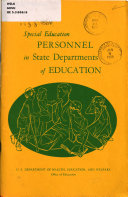 Special Education Personnel in State Departments of Education