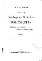 Select Readings and Recitations for Children PDF