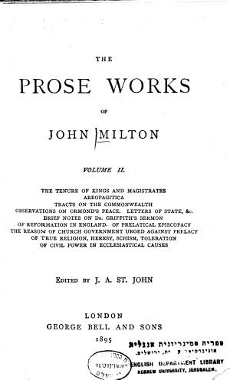 The    Prose Works of John Milton PDF