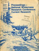 Proceedings  National Wilderness Research Conference  Current Research PDF