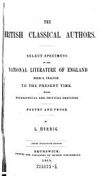 The British Classical Authors. Select Specimens of the National Literature of England from G. Chaucer to the Present Time. 10. Ed