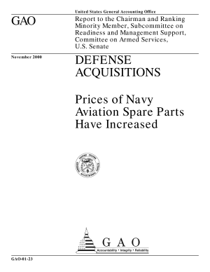 Defense acquisitions   prices of Navy aviation spare parts have increased   report to the Chairman and Ranking Minority Member  Subcommittee on Readiness and Management Support  Committee on Armed Services  U S  Senate