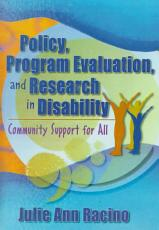 Policy  Program Evaluation  and Research in Disability PDF