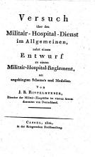 Versuch   ber den Militair Hospital Dienst im Allgemeinen  etc   PDF