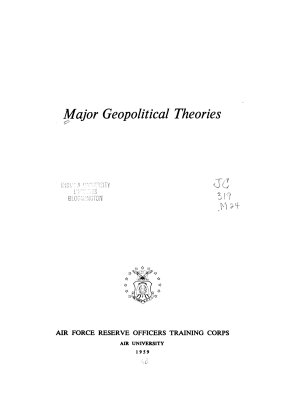 Major Geopolitical Theories PDF
