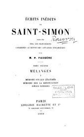 Écrits inédits ... publ. sur les MSS. conservés au dépôt des affaires étrangères par P. Faugère (le vte Manjet d'Elbenne).