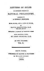 Letters Of Euler On Different Subjects In Natural Philosophy Book PDF