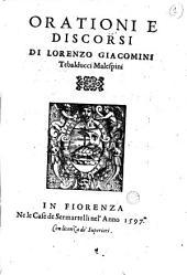 Orationi e discorsi di Lorenzo Giacomini Tebalducci Malespini