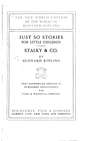 Just so stories for little children. Stalky & Co