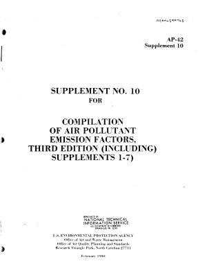 Compilation of Air Pollutant Emission Factors  3d Ed