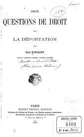 Deux questions de droit sur la déportation