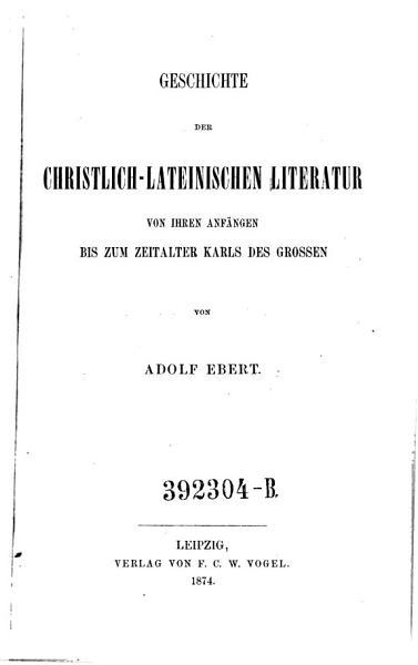 Allgemeine Geschichte Der Literatur Des Mittelalters Im Abendlande