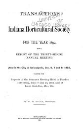 Transactions of the Indiana Horticultural Society ...: Volume 32