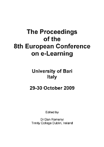 ECEL2009  8th European Conference on E Learning  PDF