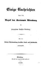 Einige Nachrichten über den Bezirk des Kreisamts Altenburg im Herzogthum Sachsen-Altenburg: Für die siebente Versammlung deutscher Land- und Forstwirthe zusammengestellt