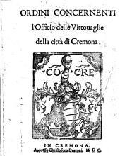 Ordini concernenti l'Officio delle vittouaglie della città di Cremona
