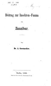 Beitrag zur Insekten-Fauna von Zanzibar: Parts [1]-3