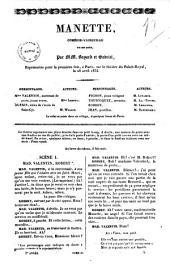 Manette comedie-vaudeville en un acte par MM. Bayard et Gabriel