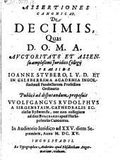 Assertiones canonicae de decimis