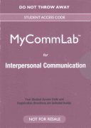 NEW MyCommunicationLab for Interpersonal Communication    Valuepack Access Card